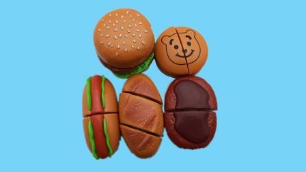 过家家切切看玩具切面包、热狗和汉堡包