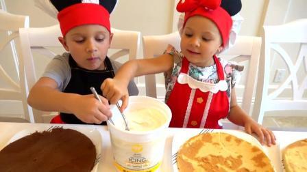 小哥哥小姐姐自己烘焙水果蛋糕,看着很厉害