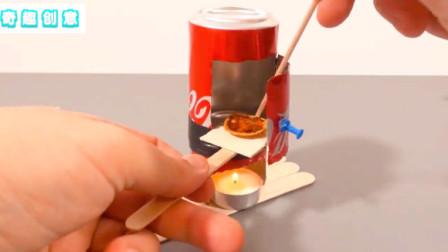 用可乐罐制作的小烤炉,烘烤迷你披萨