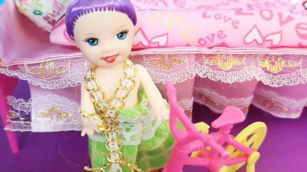 芭比公主的生日礼物,迷你小蛋糕,小小自行车玩具