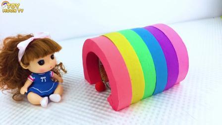 太空沙diy小美女的彩虹隧道,少儿创意手工,英语启蒙学颜色