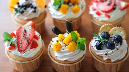奶油纸杯戚风蛋糕,棉花一样的蛋糕,入口即化的奶油,神仙搭配!