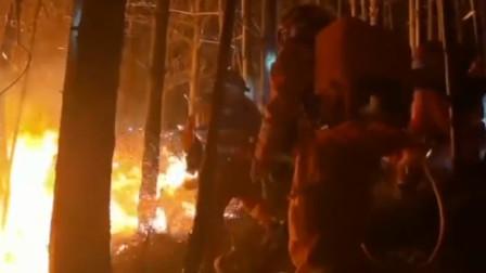 昆明市盘龙区境内突发山火 森林消防249人正连夜全力扑救