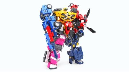 迷你特工队x玩具,特工五炫x机甲五合体变形机器人