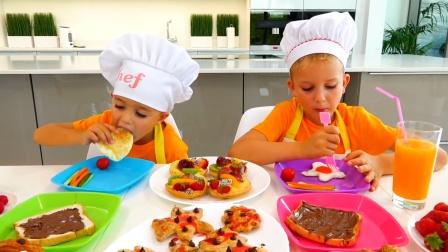 萌娃小可爱们做了一桌子的美味面包,真棒!