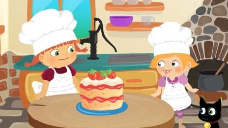 小女孩们一起制作美味的草莓蛋糕