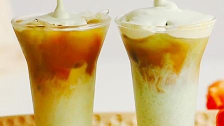 【抹茶奶油拿铁】香甜人间四月天,自制创意咖啡
