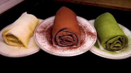 网红毛巾卷蛋糕,一个平底锅就能搞定,做法简单,爱吃甜食要收藏