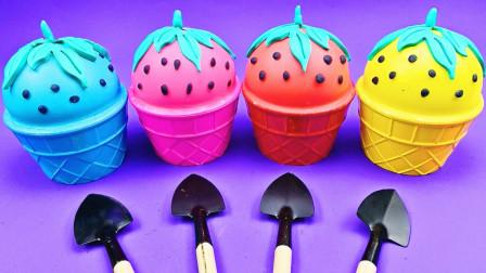 """小姐姐创意DIY彩色黏土,自制""""草莓冰淇淋"""",成品解压好玩!"""