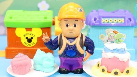 红果果熊出没玩具视频 第一季 光头强玩3D打印泥做双层蛋糕