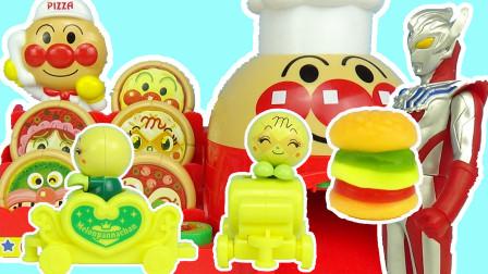 小美玩具奥特曼 泰迦奥特曼披萨店买披萨变汉堡包薯条,蜜瓜超人扭蛋