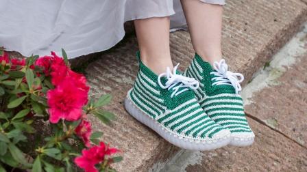 雅馨绣坊空心线单鞋条纹款手工编织勾鞋-织法教程