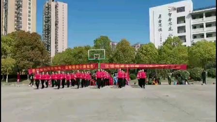 肥西县金星社区舞蹈队表演健身操(对面的小姐姐)