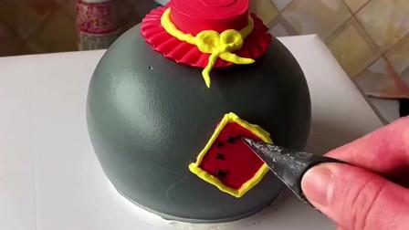 送给老公特殊的生日蛋糕,蛋糕坯里面有一瓶茅台