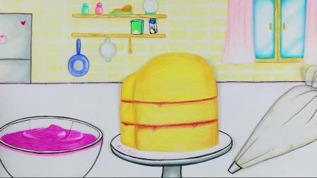 定格动画:做出美味的奶酪蓝莓蛋糕