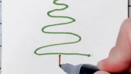 简笔画:教你三步画个圣诞树