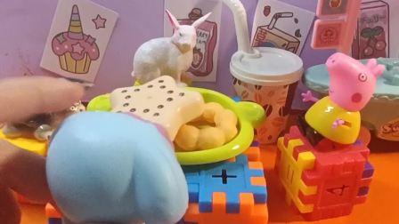 儿童玩具,给小兔子做好吃的披萨饼
