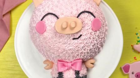 粉色小猪式彩虹蛋糕