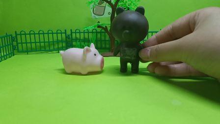 儿童故事,大家给小熊庆祝生日小猪没有去