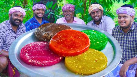 印度小伙自制彩虹果冻,营养又美味,爽口弹牙!