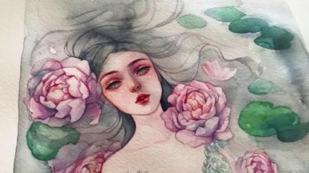 水彩手绘丨水彩插画水中的少女