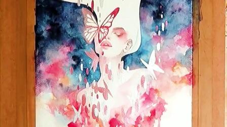 水彩手绘丨唯美水彩人物插画上色过程