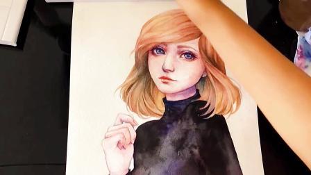 水彩手绘丨一个女孩的水彩插画过程