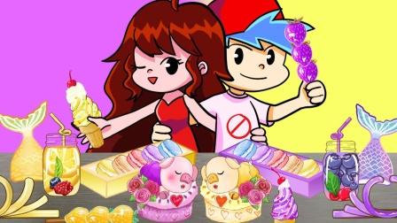 男朋友女朋友品尝美味蛋糕