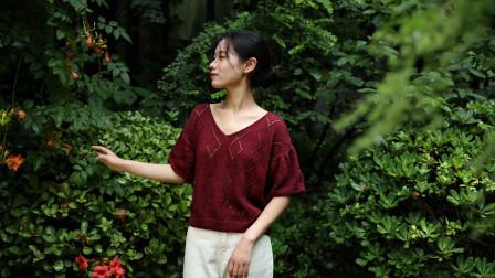 毛儿手作【第M533期】棒针编织扁带线琳琅女士短袖视频教程图解视频
