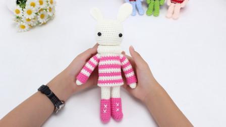 娟娟编织穿着条纹毛衣的可爱小兔子图解视频