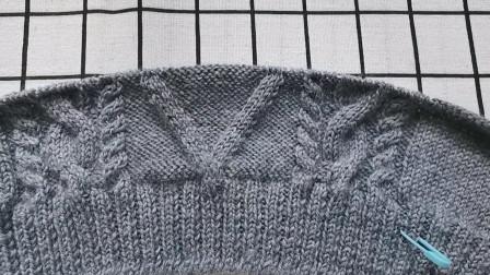 男士方块花背心手工编织视频教程十八,第二十一行编织,简单易学图解视频