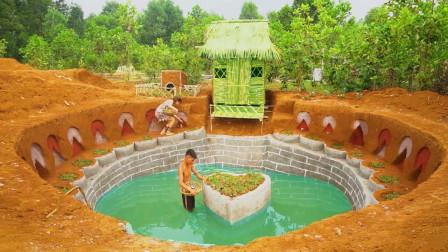 """夫妻俩荒野建造,在后山打造一座""""农家小院"""",自带浪漫泳池!"""