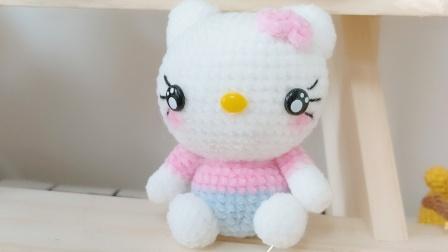暖阳绒绒第118集手工编织毛线凯蒂猫挂件玩偶的编织教程图解视频