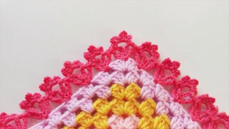 「钩针编织」漂亮的毛毯花边图解视频