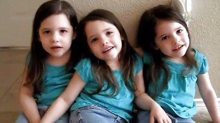 萌死个人!三胞胎小萝莉,大家羡慕吗?