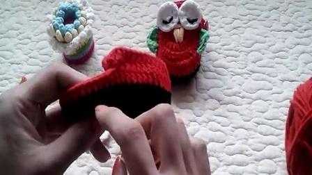 27集猫头鹰宝宝鞋配件教程婴儿鞋手工编织牛奶棉编织款式大全