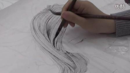 中国工笔画教学——工笔人物写生步骤9.1头发的分染