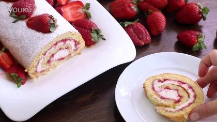 【大吃货爱美食】细致甜点——草莓蛋糕瑞士卷~ 160406
