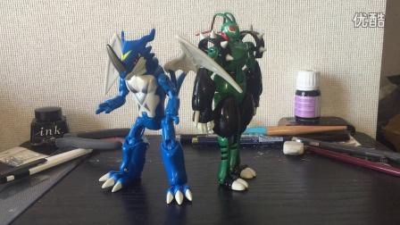 【你的罪恶】数码宝贝 v仔兽ex&飞虫兽合体进化 机甲龙兽玩具