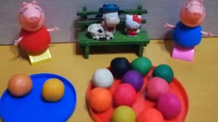 小猪佩奇、小黄人、Kitty猫、小狗做彩泥手工打造汉堡包