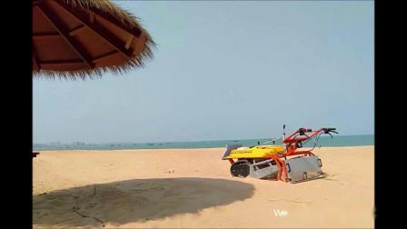 一部小型沙滩清洁车 竟然能将沙滩清洁的干净整洁