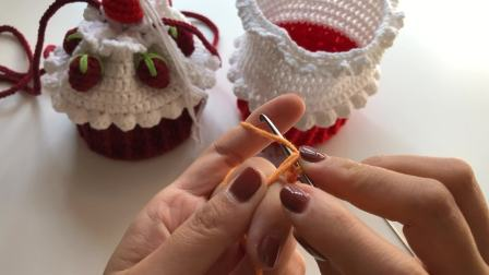 RYY手作 第20集 草莓蛋糕包 新手钩针编织教程