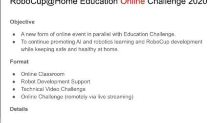 RoboCup@Home Education 2020 线上挑战赛介绍(中文版)