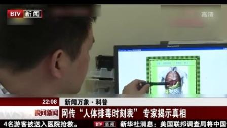 """晚间新闻报道20170615新闻万象·科普 网传""""人体排毒时刻表"""" 专家揭示真相 高清"""