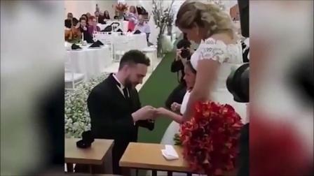 """巴西男子婚礼上向继女深情""""告白"""" 161103"""