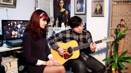 吉他弹唱 范晓萱《蓝旗袍》(郝浩涵和楠楠)