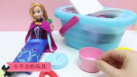 冰冻的埃尔莎公主变成了一个美人鱼 冰雪奇缘艾莎公主安娜公主雪人白雪公主灰姑娘