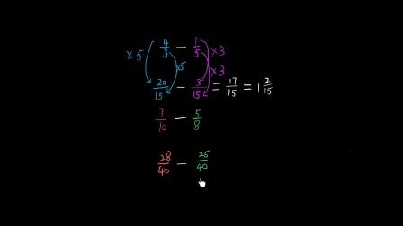 五年级数学 151 |分数的加法和减法:异分母分数减法