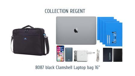 "RIVACASE 8087 black Clamshell Laptop bag 16"""
