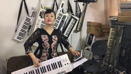 刘璐背挎双排三排键手风琴伴式电子琴合成器独奏-心中的太阳
